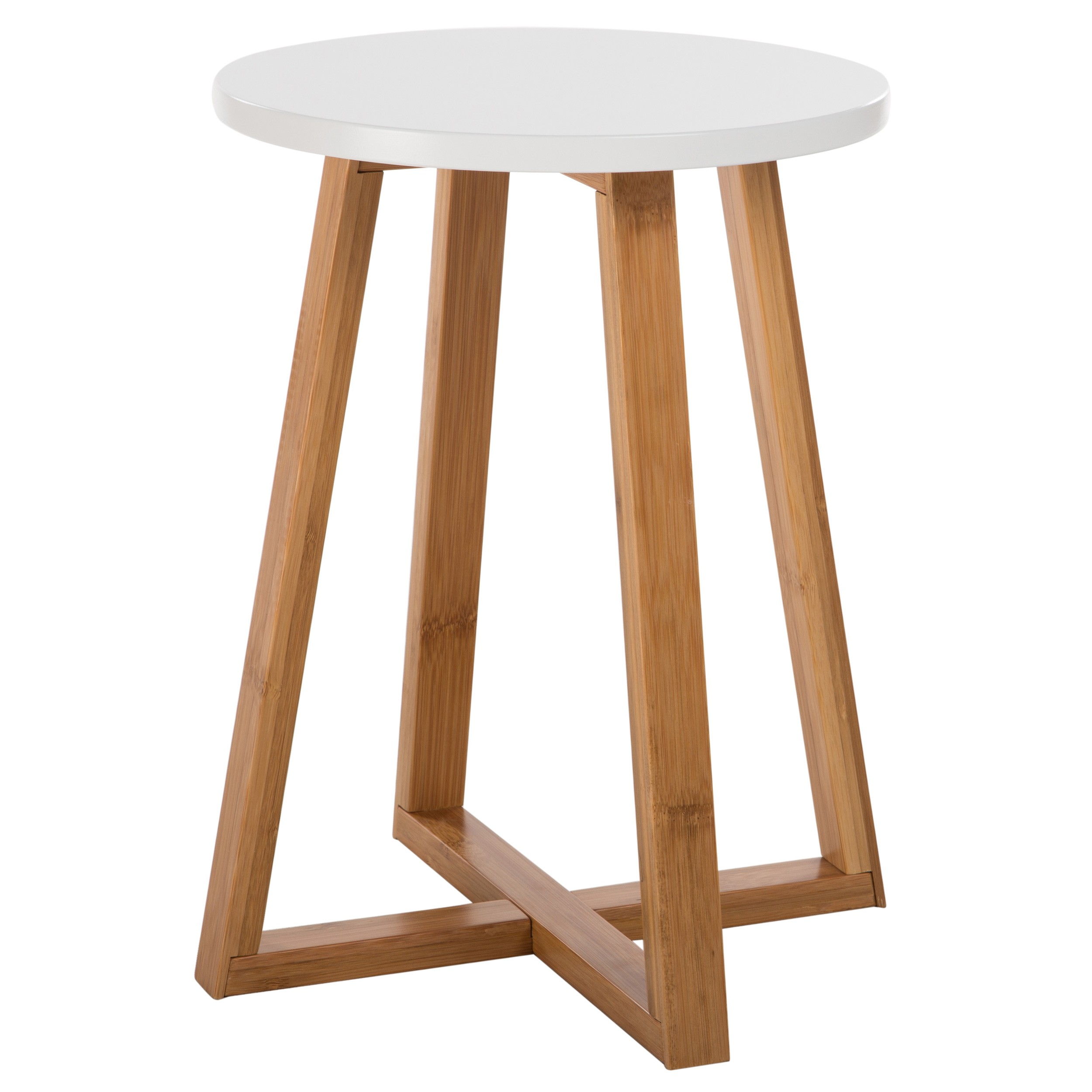 Table Ronde Blanche Et Bois Table D Appoint Ronde Skandi