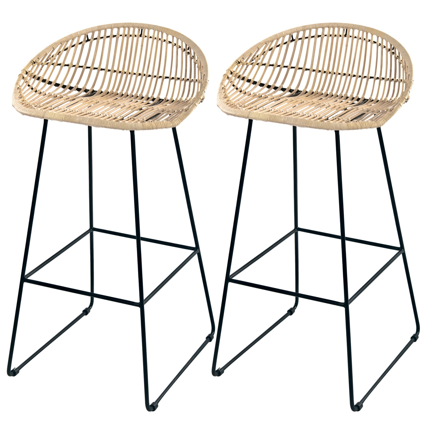 Tabouret En Rotin Tabouret De Bar Lotus En Rotin Naturel Lot De 2