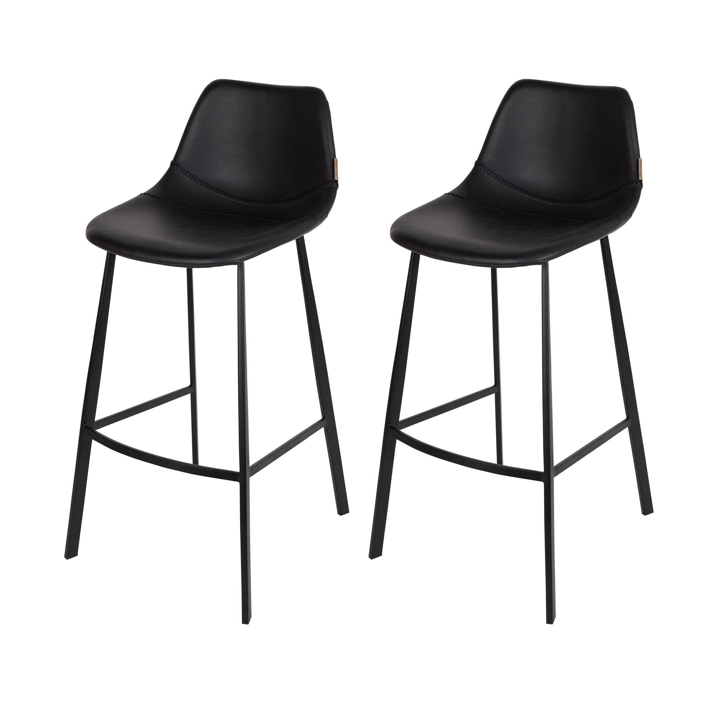Chaise De Bar En Cuir Tabouret De Bar Franky Noir Lot De 2 Dutchbone