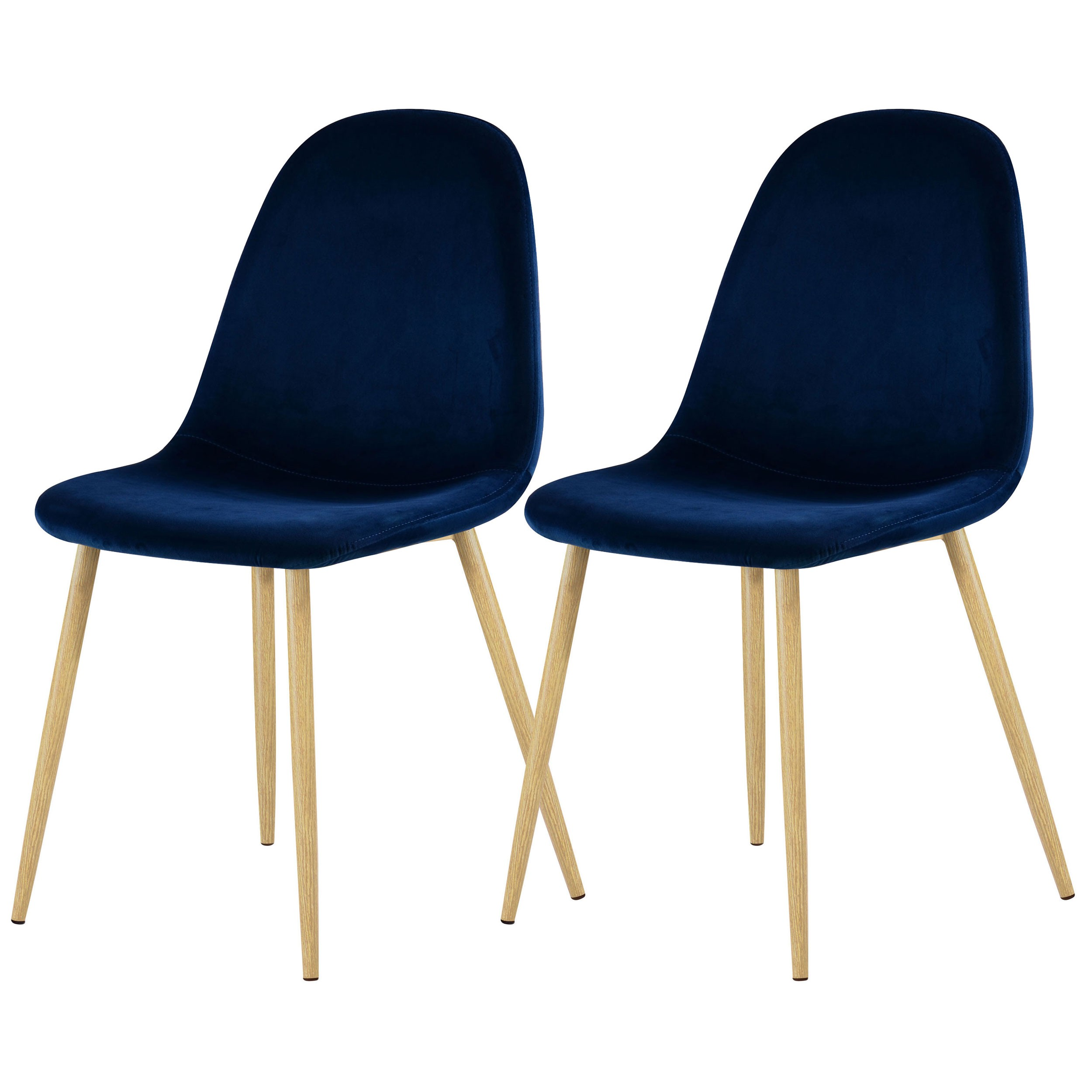 Lot Chaise Scandinave Chaise Fredrik En Velours Bleu Foncé Lot De 2