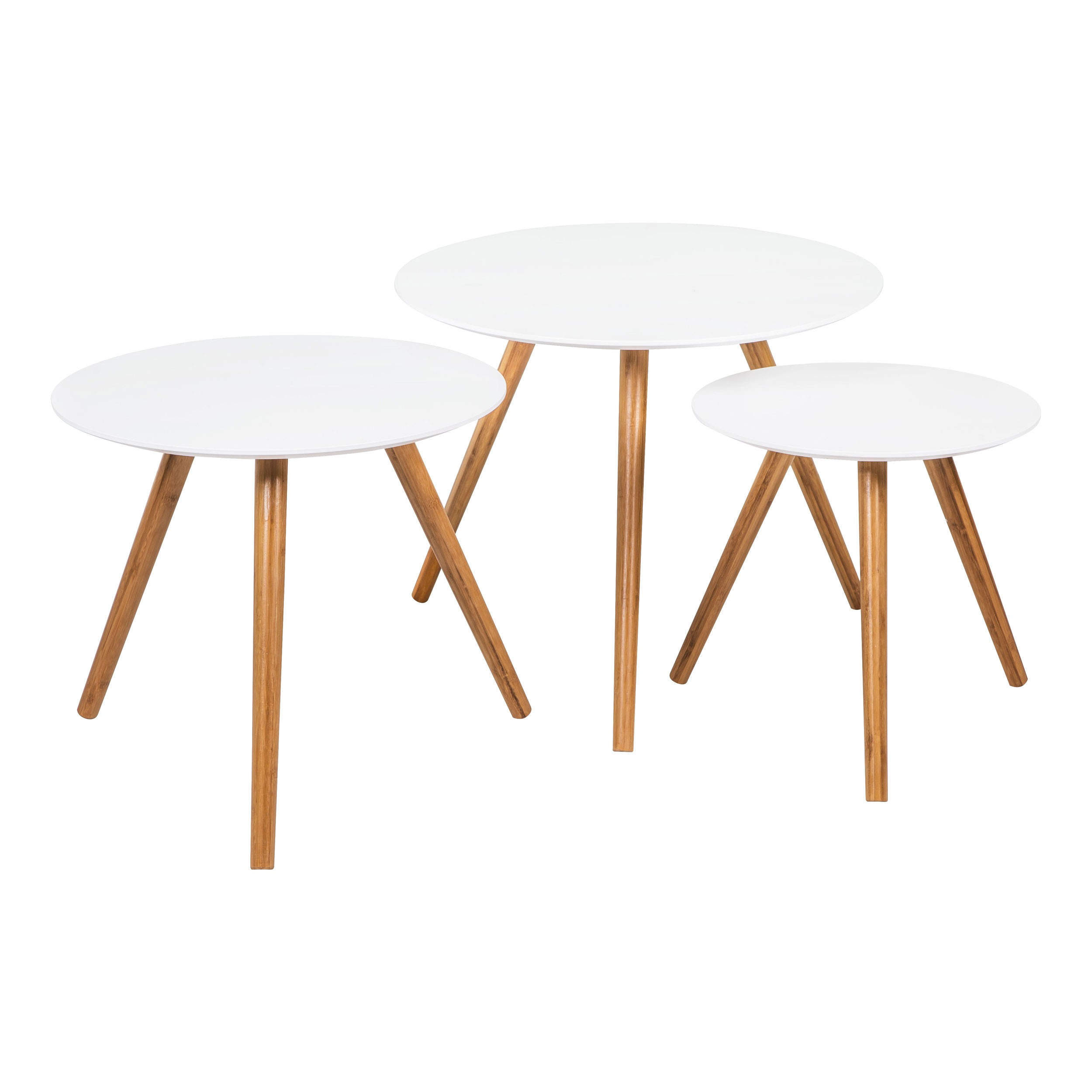 Table Basse Scandinave Blanche Table Basse Ronde Liv Blanche Lot De 3