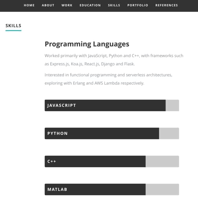 JSON Resume - ReactJS Example - images of a resume