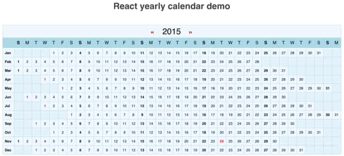 react-yearly-calendar - ReactJS Example - yearly calendar