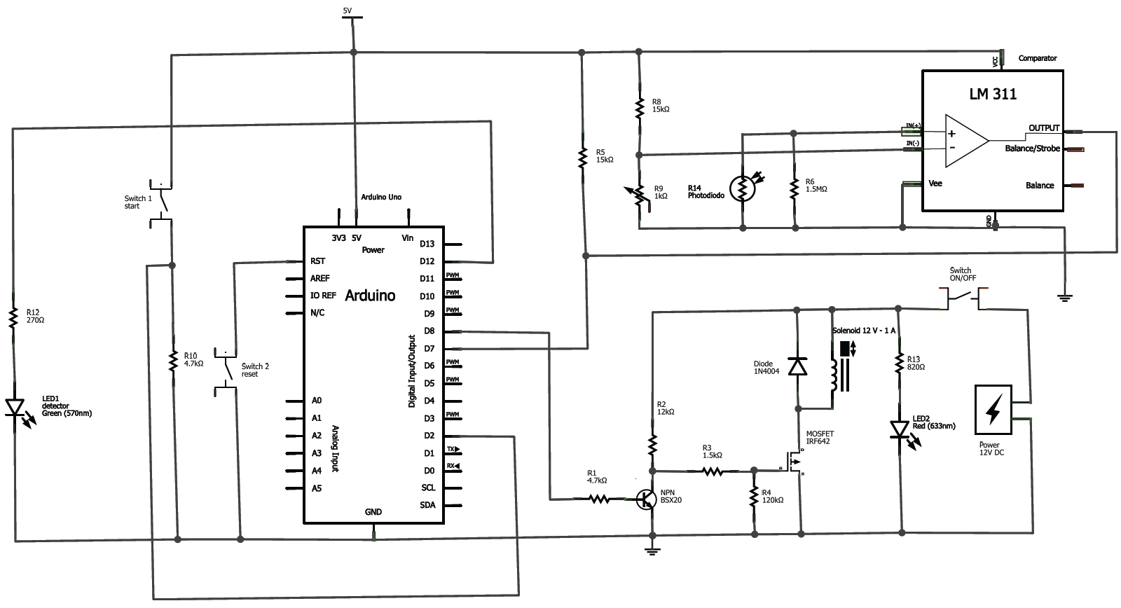 photodiode circuit arduino leds are connected to the