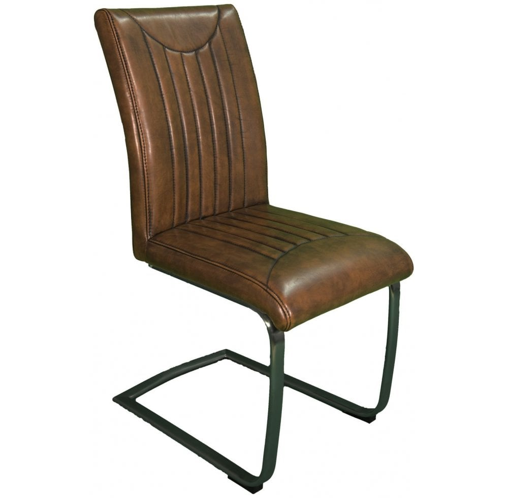 Industrial Retro Stitch Dining Chair Vintage Brown With Vintage Frame Furniture Sale From Readers Interiors Uk