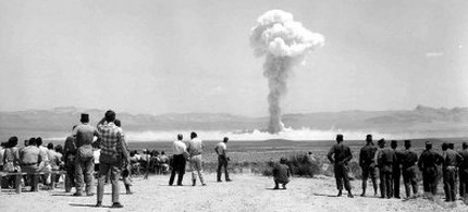 An early atomic bomb detonation in Nevada desert. (photo: Getty)