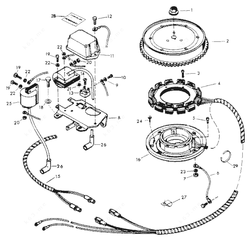 1979 mercury chrysler outboard 206h9b alternator diagram and parts