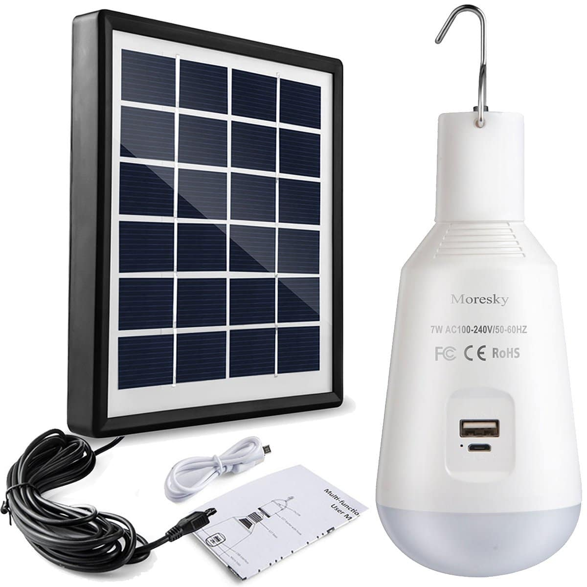 Led Solar Led Camping Light Bulb Solar Panel And Usb Rechargeable Portable Outdoor Solar Energy Lamp