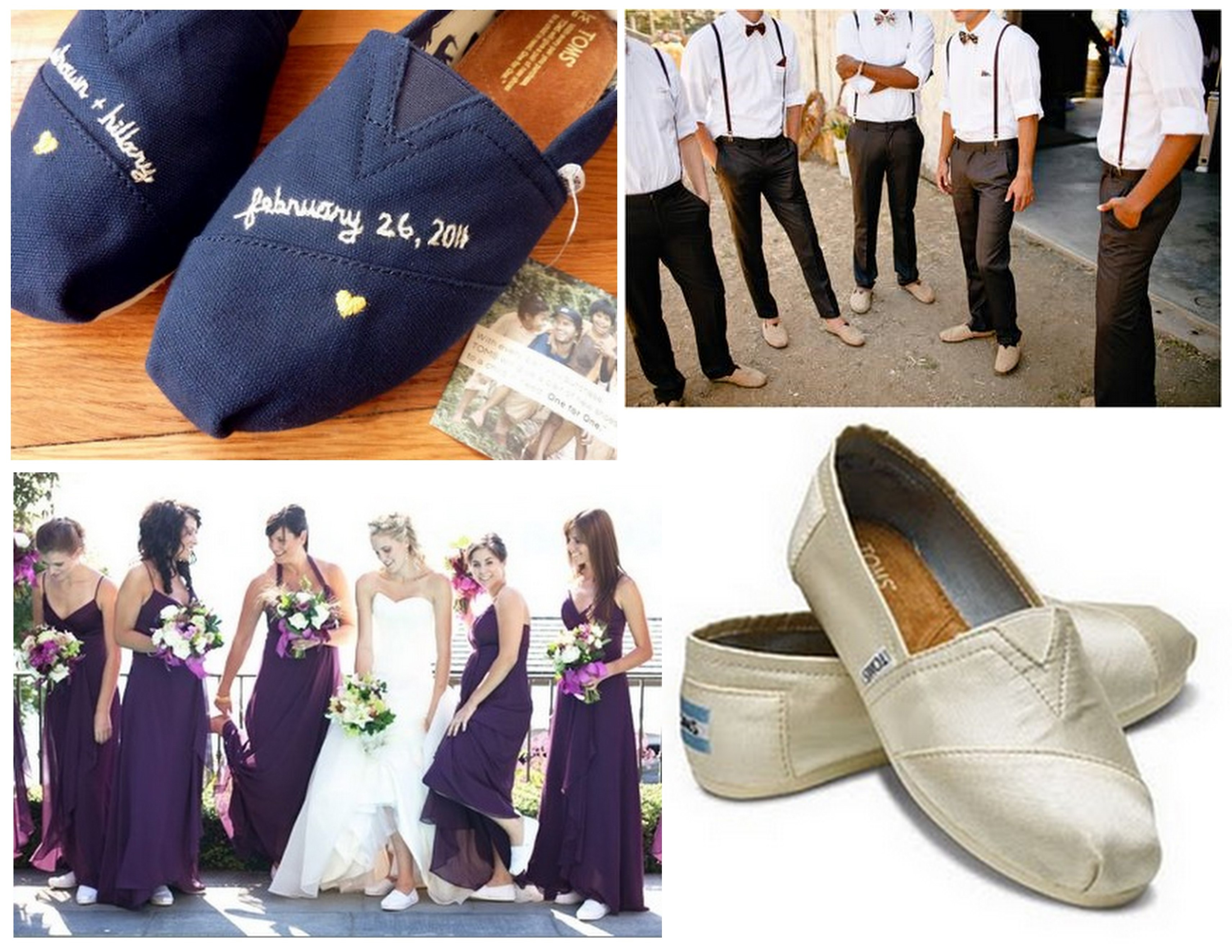 toms wedding shoes Personalized Eco Friendly Wedding TOMS for Entire Wedding Party Bride Groom Bridesmaids