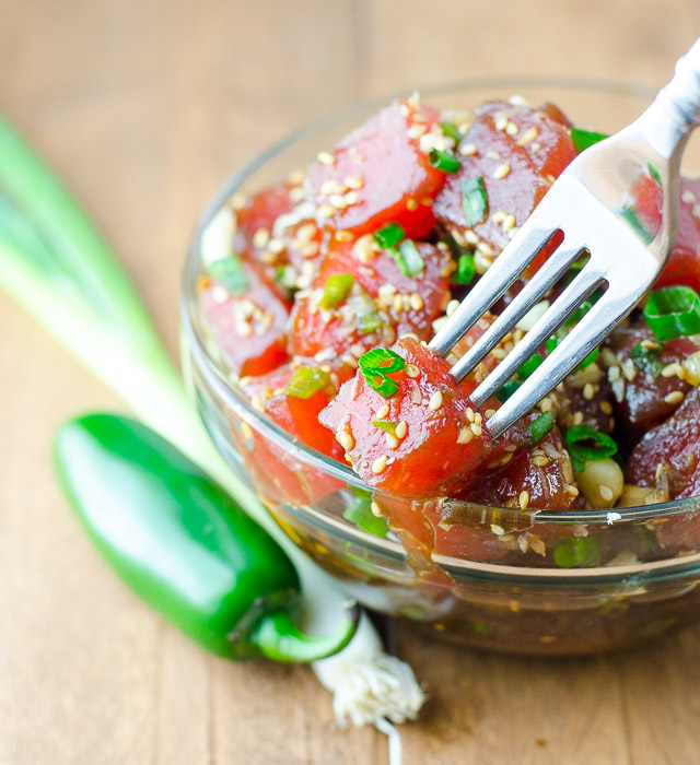 Ahi Tuna Poke is a refreshing and savory Hawaiian snack, perfect for warm weather - or anytime you want to pretend you're in a tropical paradise.