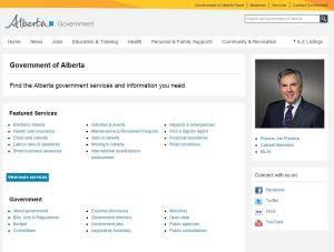 Alberta government home page snip