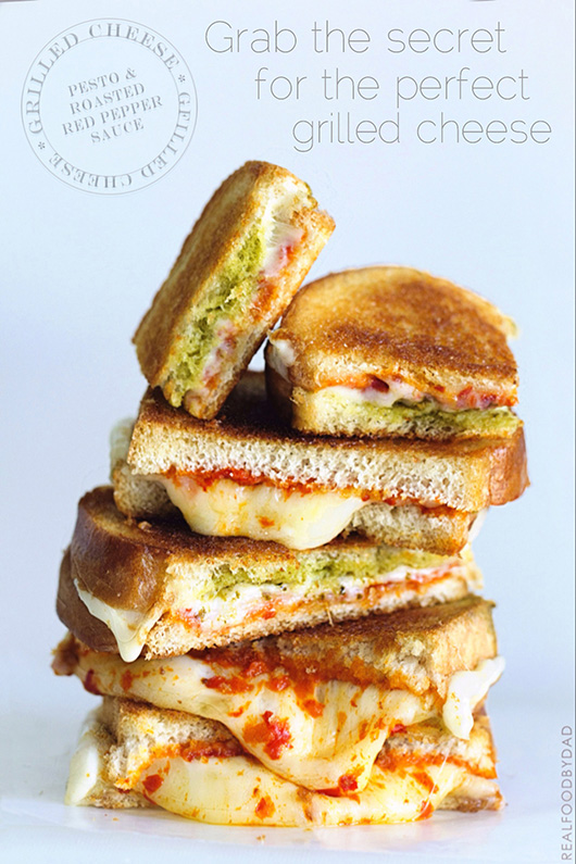 Pesto and Roasted Red Pepper Grilled Cheese   Real Food by Dad