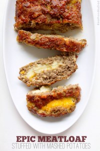 Stuffed Meatloaf with Mash Potatoes via Real Food by Dad
