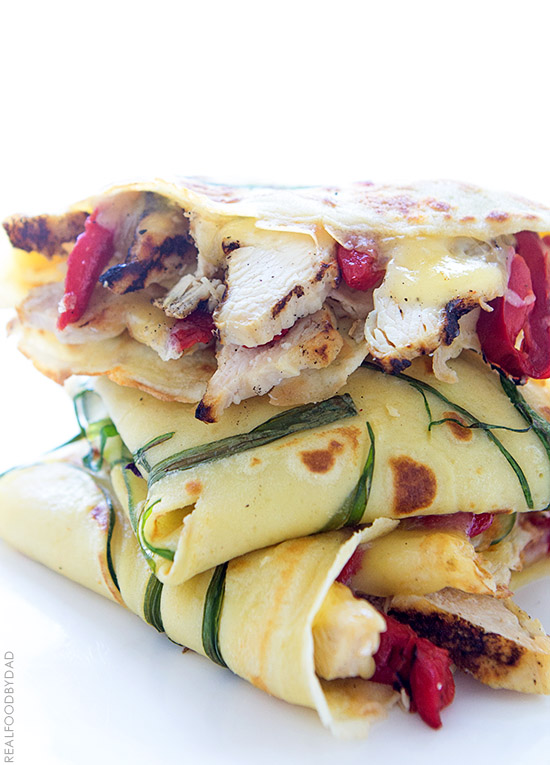 Grilled Chicken and Roasted Red Pepper Crepe Quesadilla via Real Food by Dad