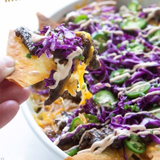 Korean Beef Nachos with Wonton Chips