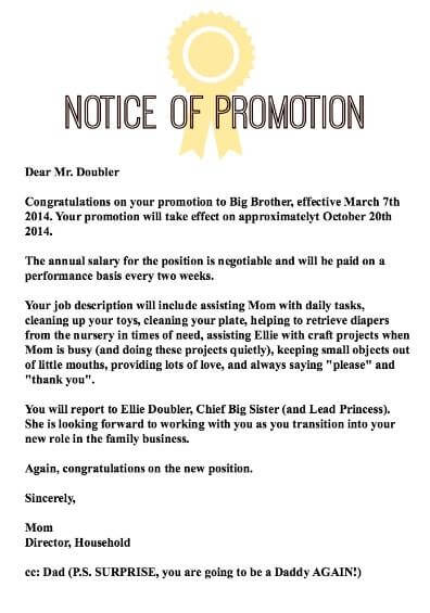 4 promotion announcement letter of promotion to big brother sample