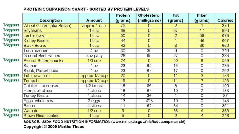 Protein Comparison Chart Real Foods Mom - food charts