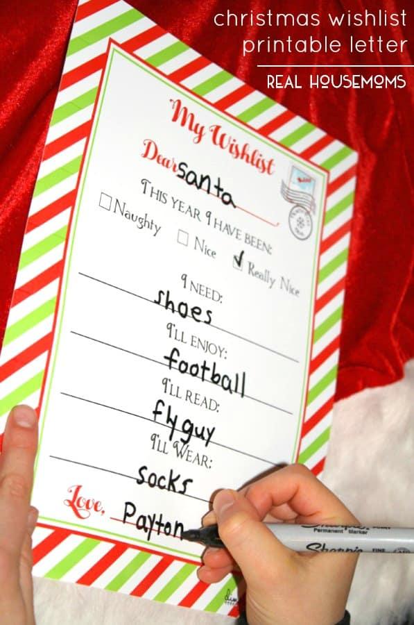 Christmas Wishlist Printable Letter ⋆ Real Housemoms - christmas wish list paper