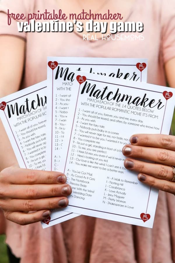 Free Printable Matchmaker Valentine\u0027s Day Game ⋆ Real Housemoms