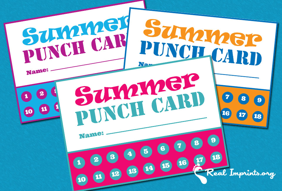 Summer Punch Cards Free Printable - punch cards