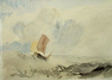 A-Sea-Piece-A-Rough-Sea-With-A-Fishing-Boat,-1820-30