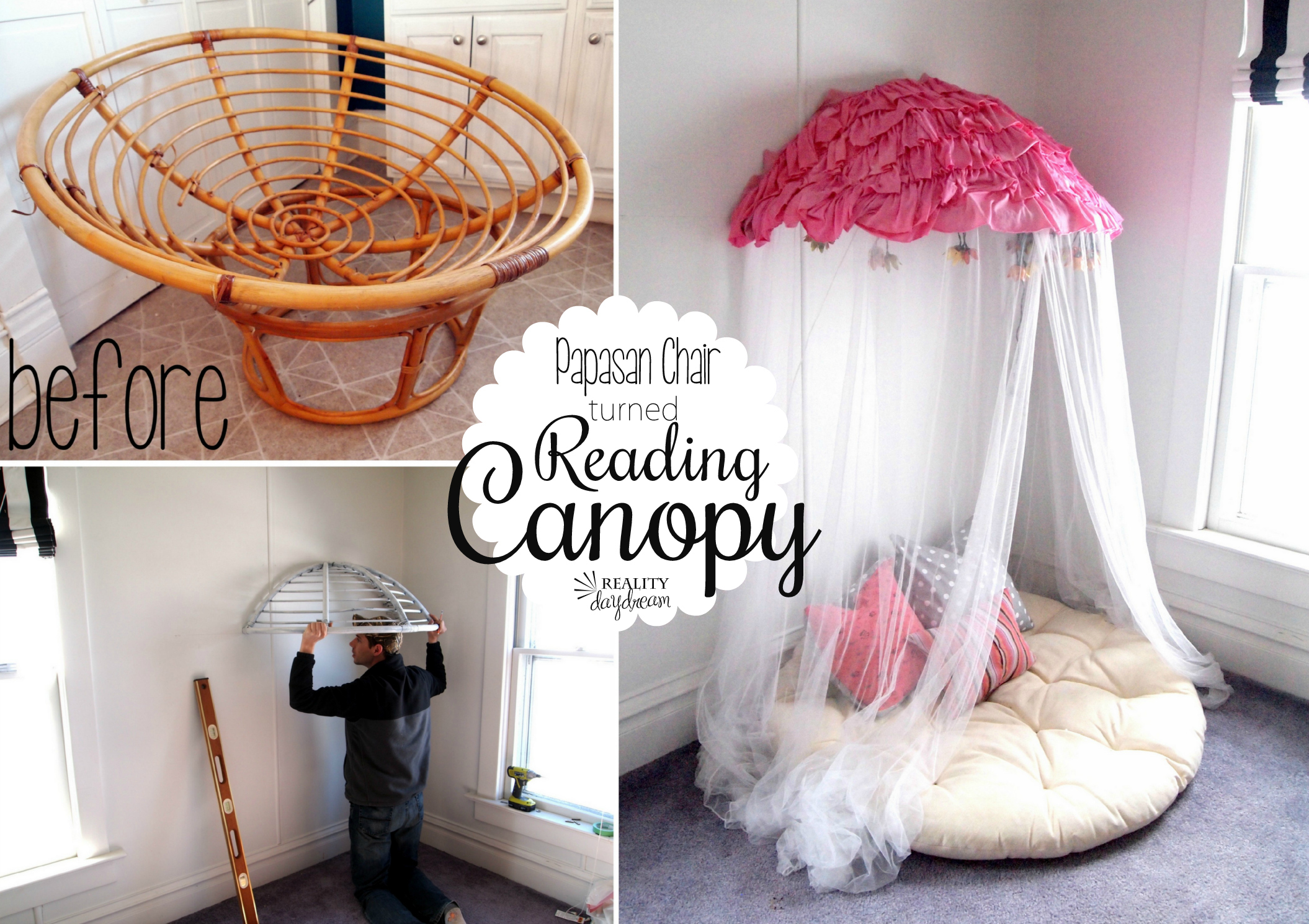 Chairs For Reading Corner Turn Your Old Papasan Into A Canopy Reading Nook Reality Day Dream