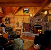 log home fireplace  Real Log Style
