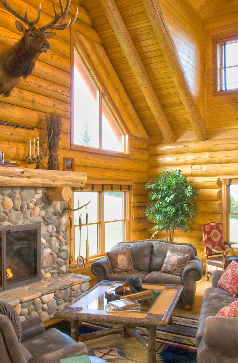 Log Home Fireplaces Fit For Santa Real Log Homes