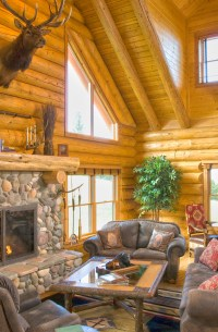 Log Home Fireplaces Fit for Santa  Real Log Style