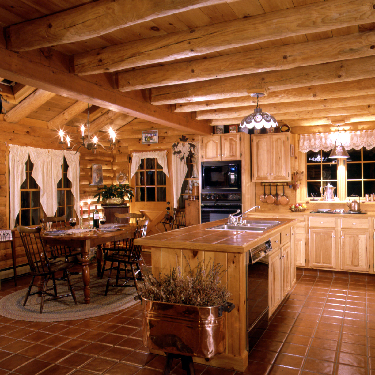 Cabin Design Ideas Log Home Kitchens Real Log Style
