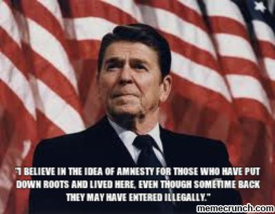 """Reagan when he gave """"amnesty"""" to 3 million illegal immigrants"""