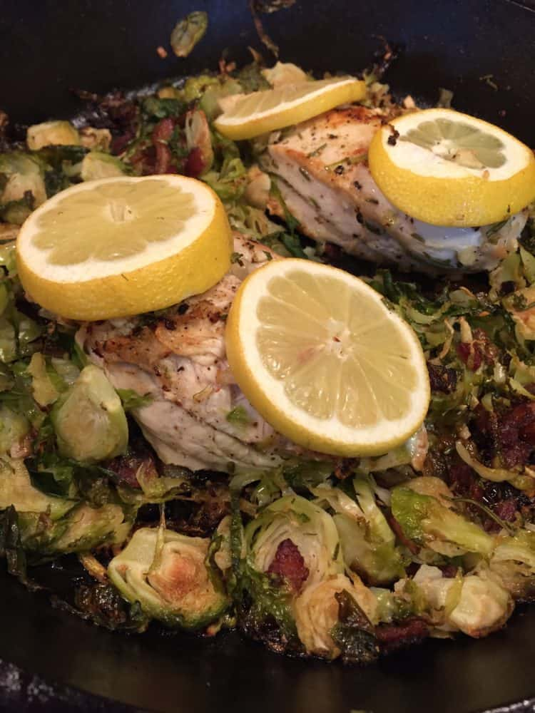Chicken skillet with bacon brussels sprouts for Chicken and brussel sprouts skillet