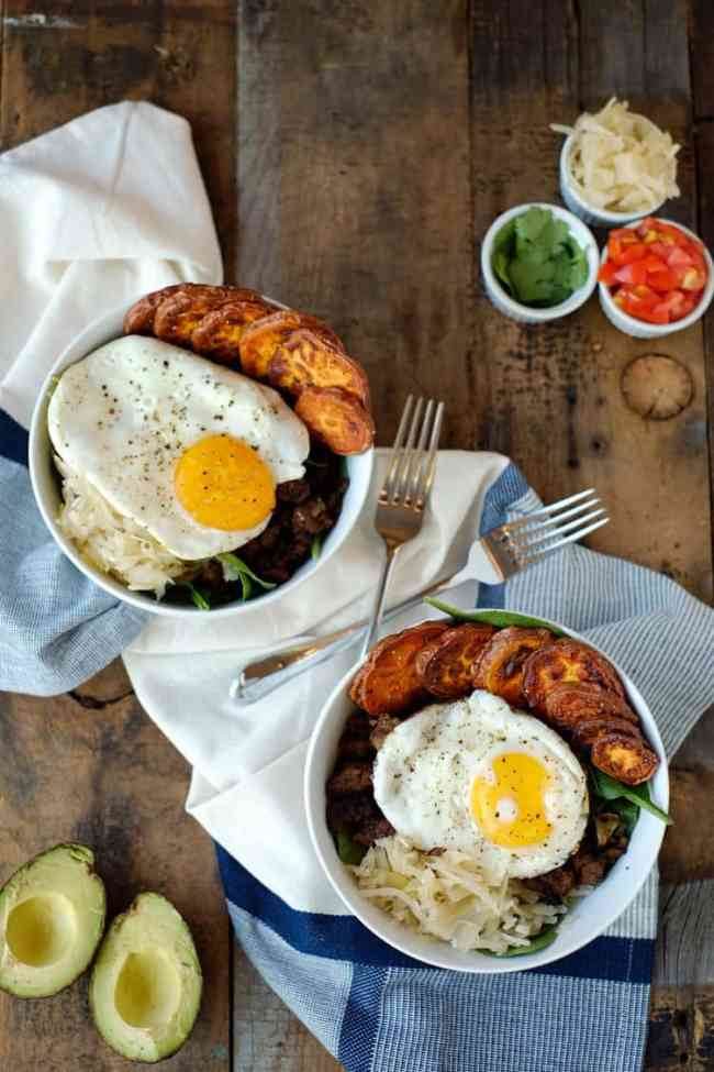 Taco breakfast bowl three