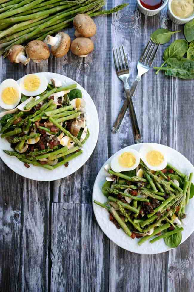 Honey mustard asparagus bacon salad two