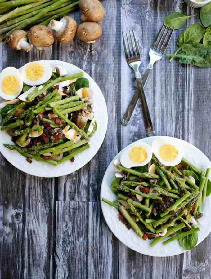 Honey mustard asparagus bacon salad two