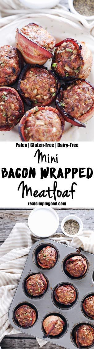 This mini bacon wrapped meatloaf recipe is a winner for many reasons! Mini sized things are just better, and they are great for breakfast, lunch, or dinner! Paleo, Gluten-Free + Dairy-Free. | realsimplegood.com