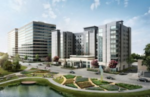 Rendering of Embassy Suites under construction in The Woodlands,