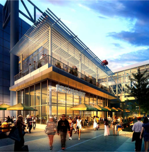 Rendering of new retail space near George R. Brown Convention Center in downtown Houston.