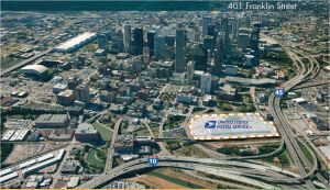 The Post Office site sits on the northern edge of downtown Houston.