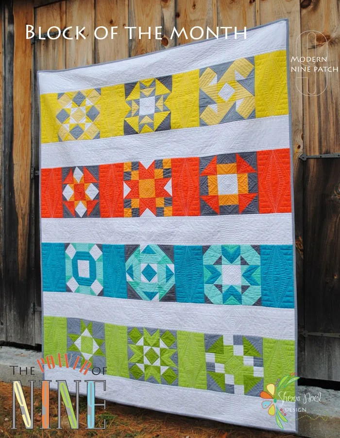 Block of the month power of nine for Modern house quilt block