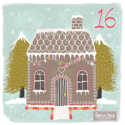 Day 16 - Gingerbread House by Rebecca Stoner www.rebeccastoner.co.uk