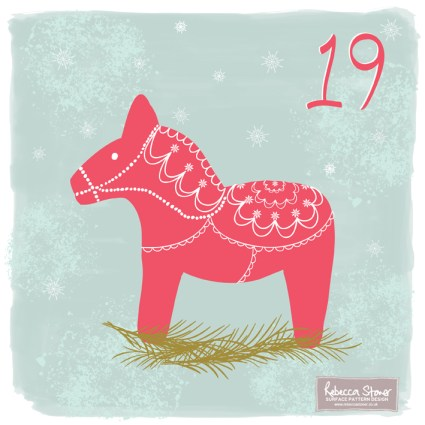 Day 19 - Dala Horse by Rebecca Stoner www.rebeccastoner.co.uk