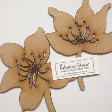 Lasercut Wood Flowers by Rebecca Stoner www.rebeccastoner.co.uk
