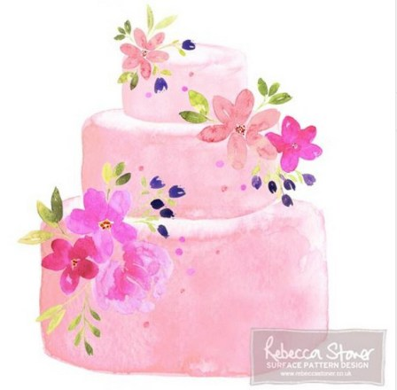 Watercolour Wedding Cake by Rebecca Stoner www.rebeccastoner.co.uk