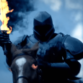 The Horseman of War (Marti Matulis) carries a flaming sword on Sleepy Hollow.