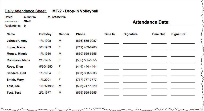 Director Release u2013 Daily Attendance Sheet (Sign In\/Out) u2013 RecDesk - attendance sign in sheet