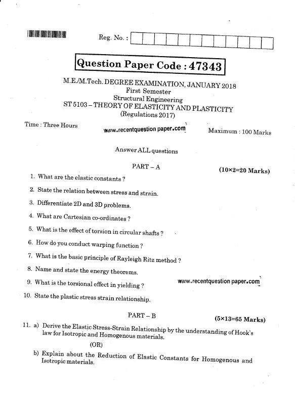 ST5103 Theory Of Elasticity And Plasticity Jan 2018 Anna University