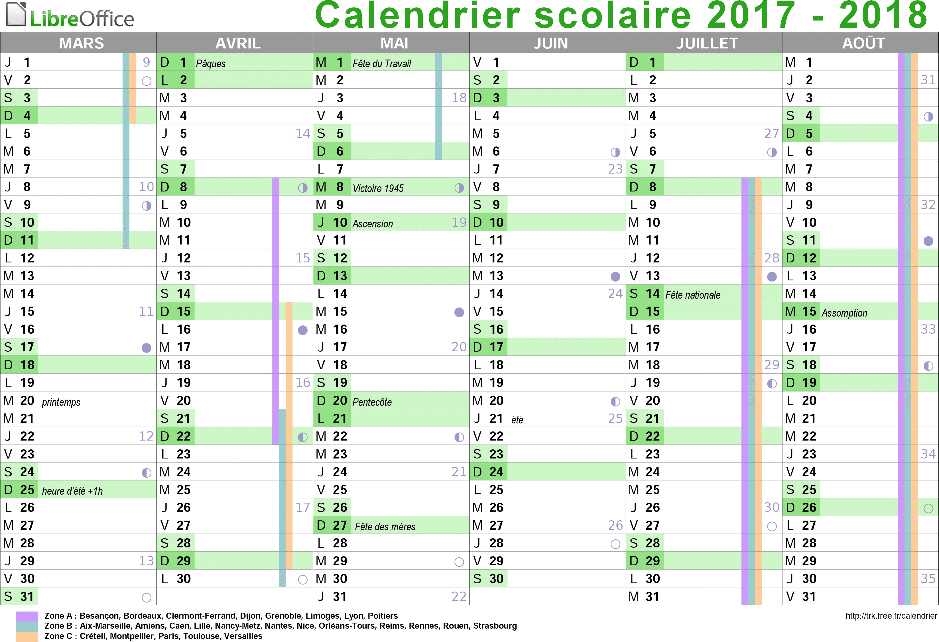 Free Calendrier Calendrier Vacances Free