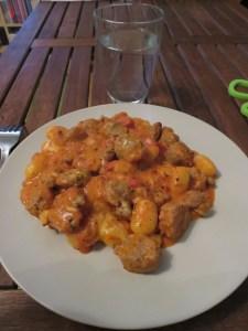 Gratin de gnocchi, sauce tomates et saucisses 2