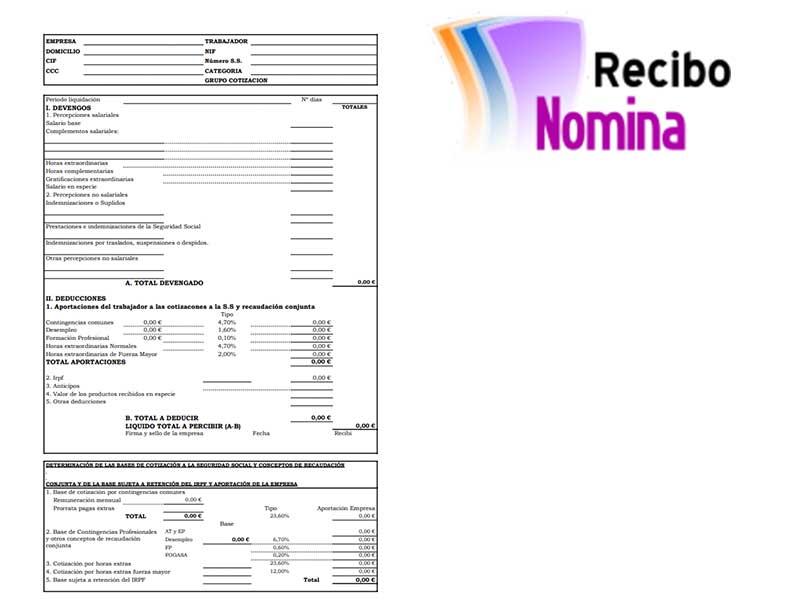 Recibo de Nomina ▷ Descargar pdf Plantilla para rellenar